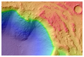 Lava Flow Spilling into Crater in Southwestern Daedalia Planum