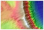 Western Rim and Ejecta of Fresh 8-Kilometer Crater in Margaritifer Terra