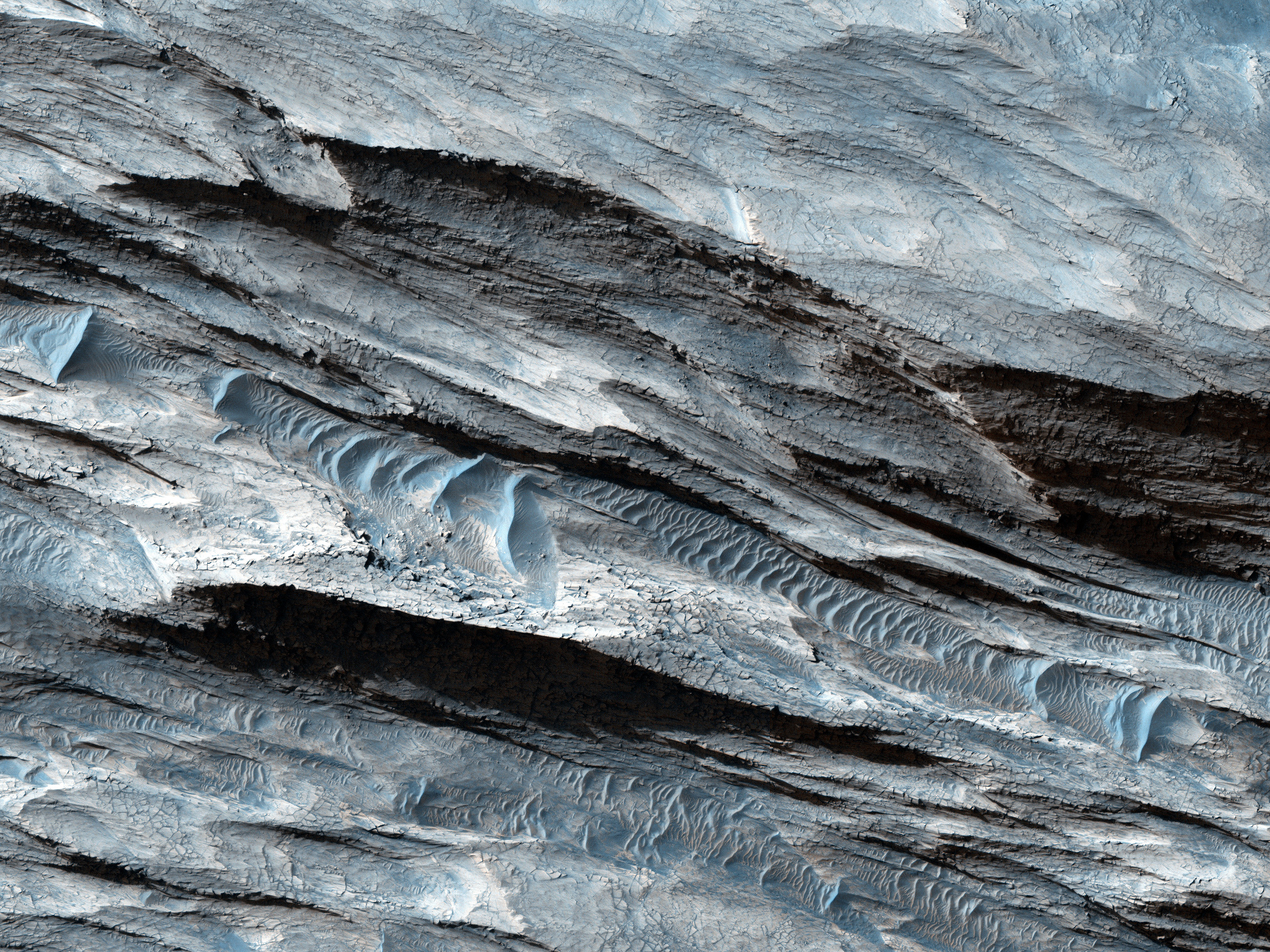 Basin in the West Candor Chasma Layered Deposits