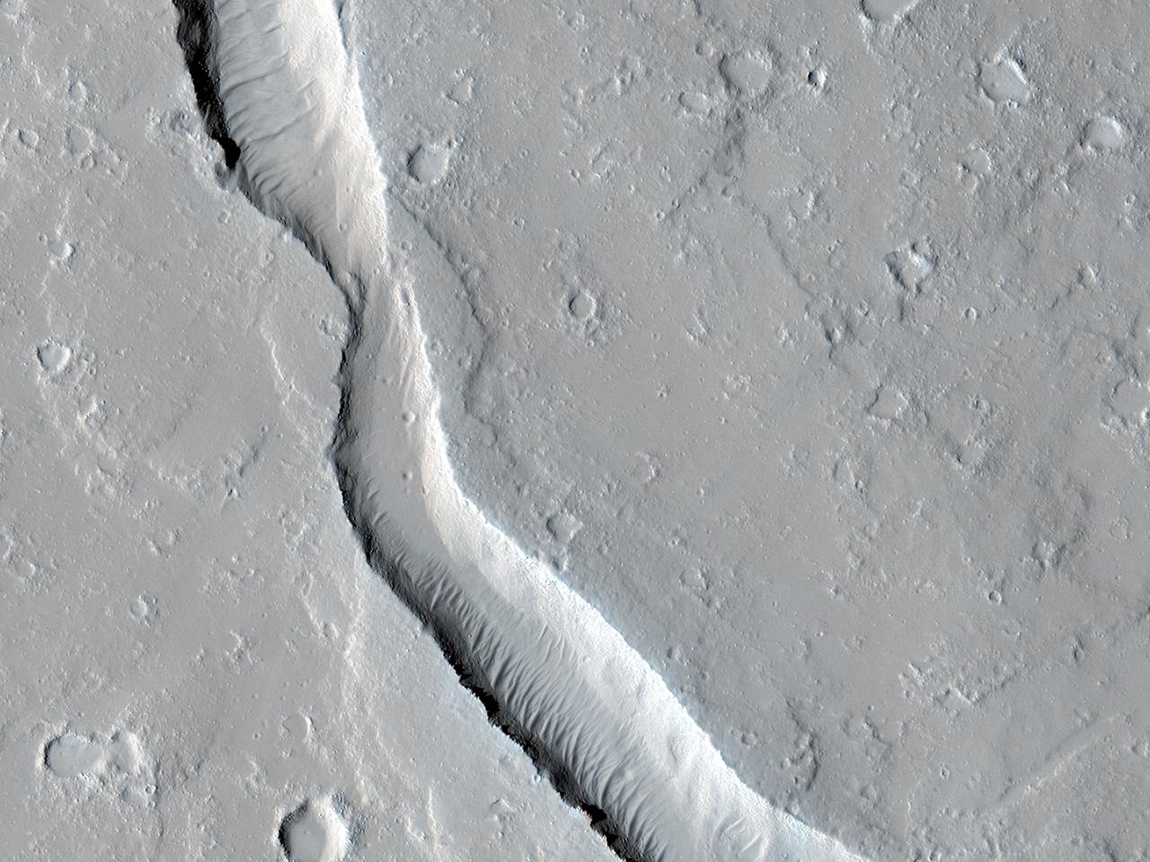 Flusso lavico vicino la base dell'Olympus Mons
