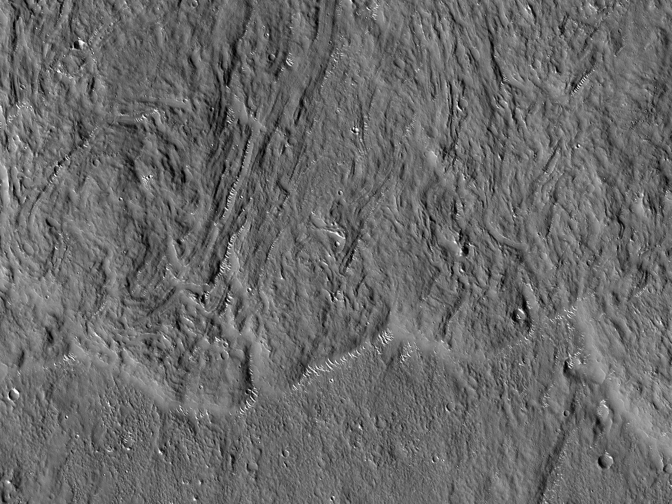 Margine distale dello strato di materiale espulso dal cratere Bacolor