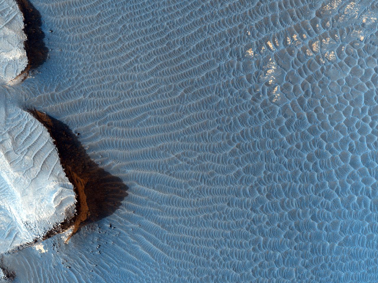 Material întunecat cu stratificație și ondulații în Melas Chasma
