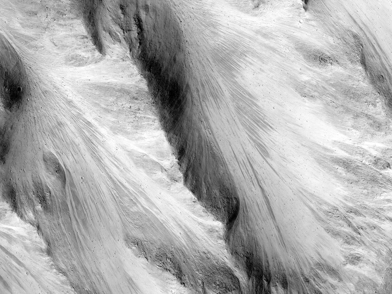 مواد رسوبية قاتمة في وادي شالبتانا (Shalbatana)