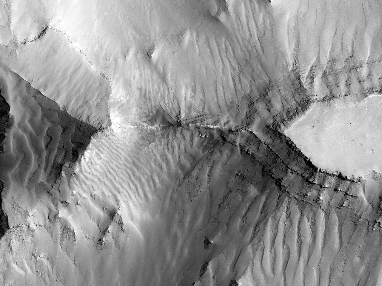 Steinblokker og fallende sanddyner i øst ved Coprates Chasma