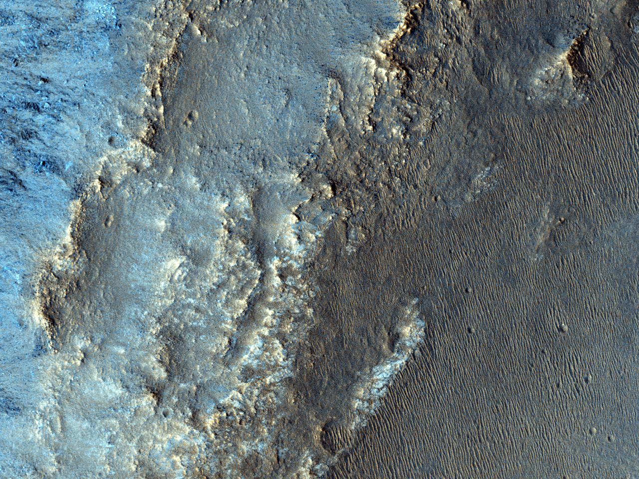 Eksponerte berggrunner i Eos Chasma