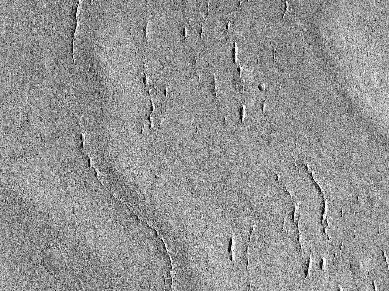 فوهة بحافة خالية من التضاريس، وارتفاعات متراكزة في منخفضات اركاديا (Arcadia Planitia)