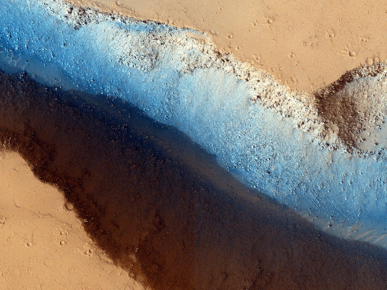 Dype glidninger vest fra Grjota Valles