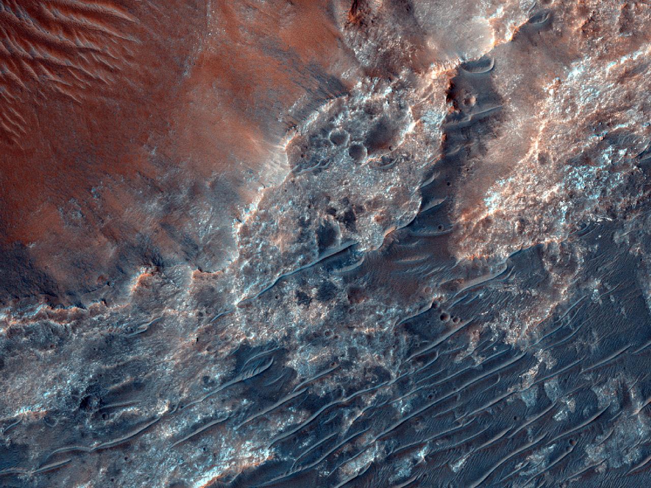 Mulige fyllosilikater i Nirgal Vallis