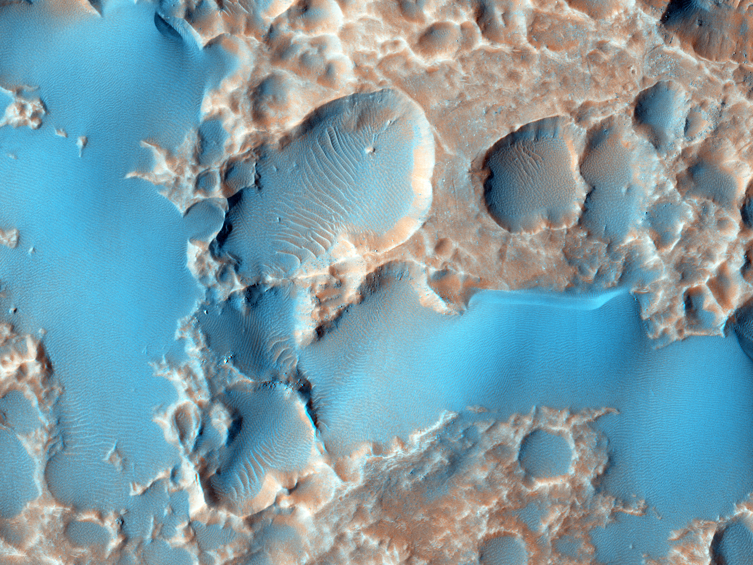 Pits in Hale Crater Ejecta