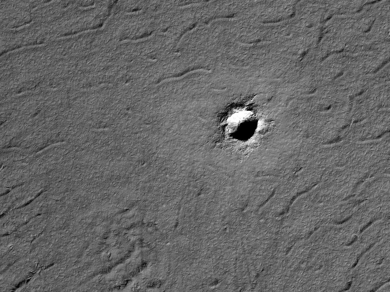 Et krater i terrenget ved South Pole