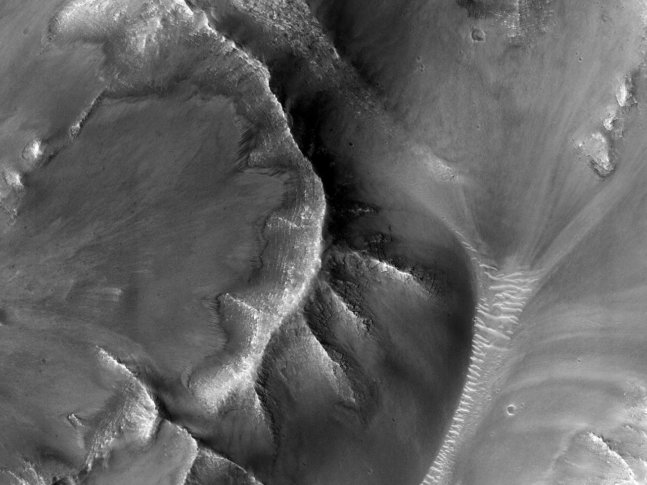 Sørvendte skråninger i Corprates Chasma