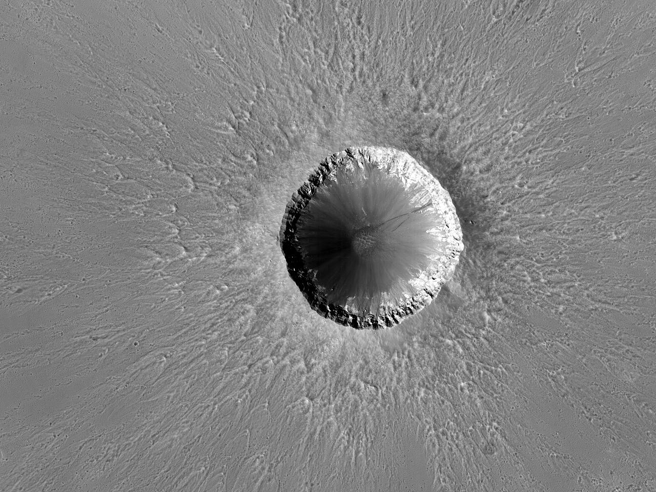 Vakkert nedslagskrater nær landingsstedet for Rover Opportunity