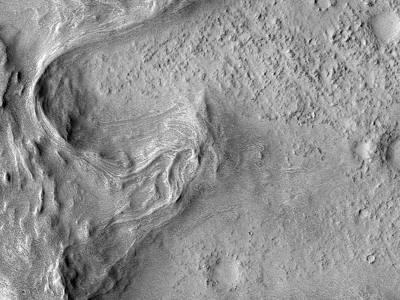 Innsiden av Flammarion-krateret