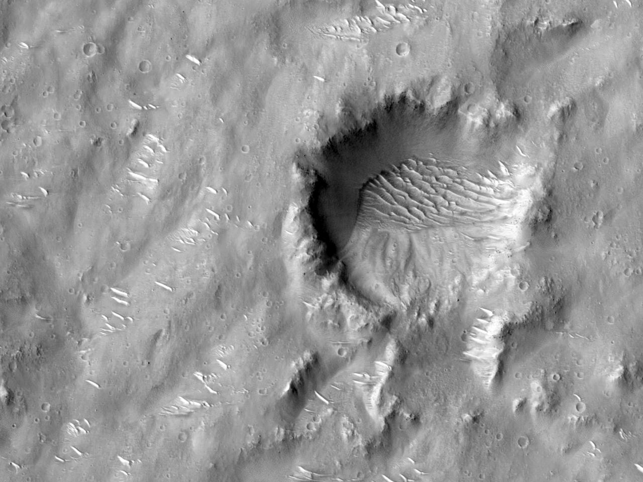 Terreng inntil krater i Isidis Planitia