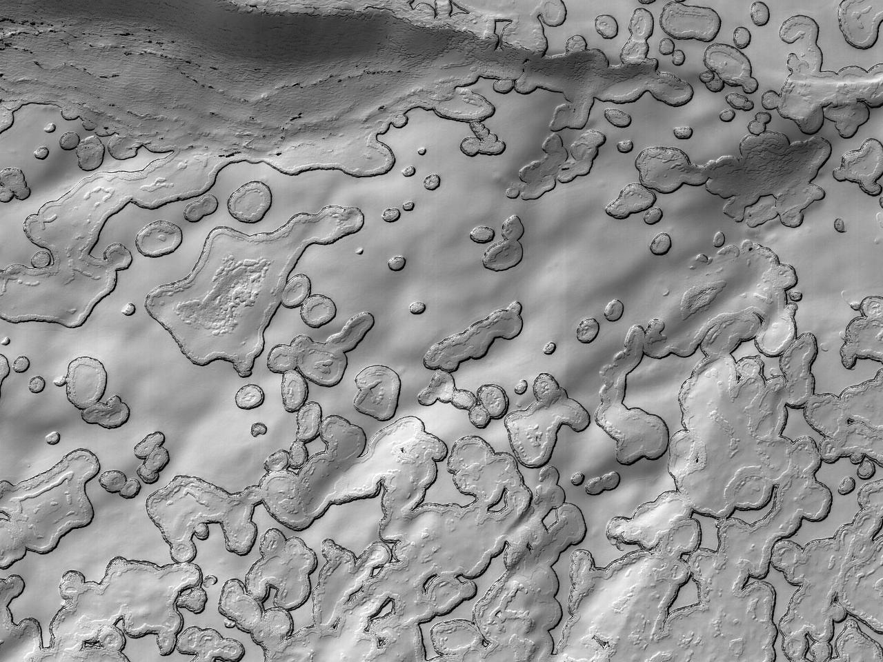 Sesong-typiske albedo-mønstre ved sydpolen