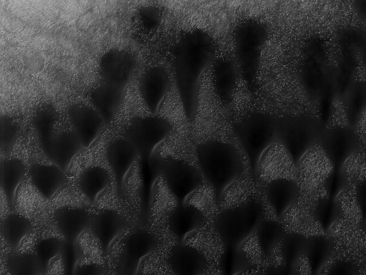Nydelige sanddyner i et nedslagskrater