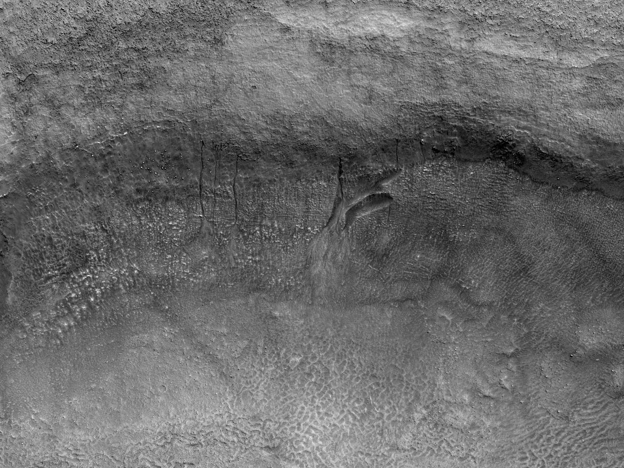 Rigole în peretele unui crater