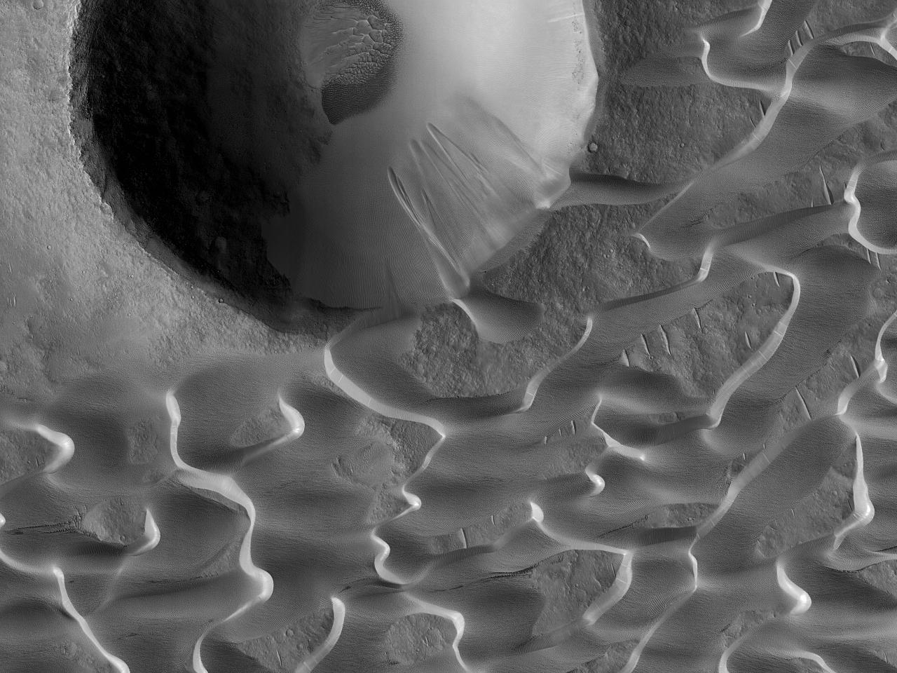 Наблюдение за дюнами впатере Meroe Patera