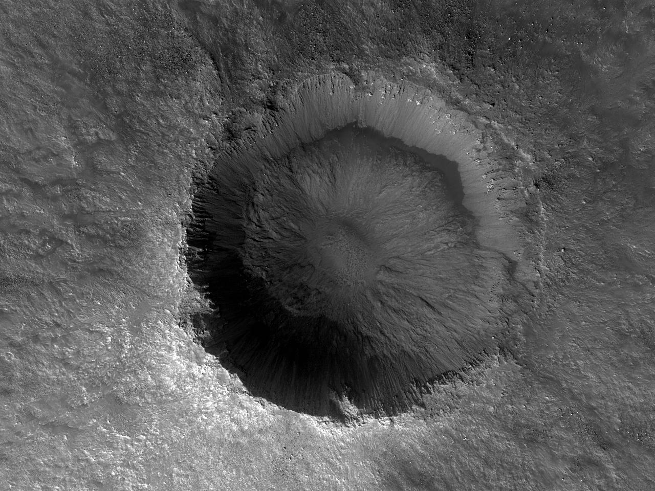Предположительно, хорошо сохранившийся кратер на равнинеAcidalia Planitia