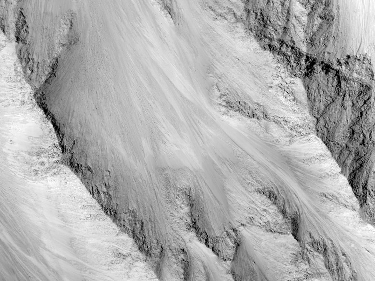 Overvåkingsbilde fra skråninger i Eos Chasma