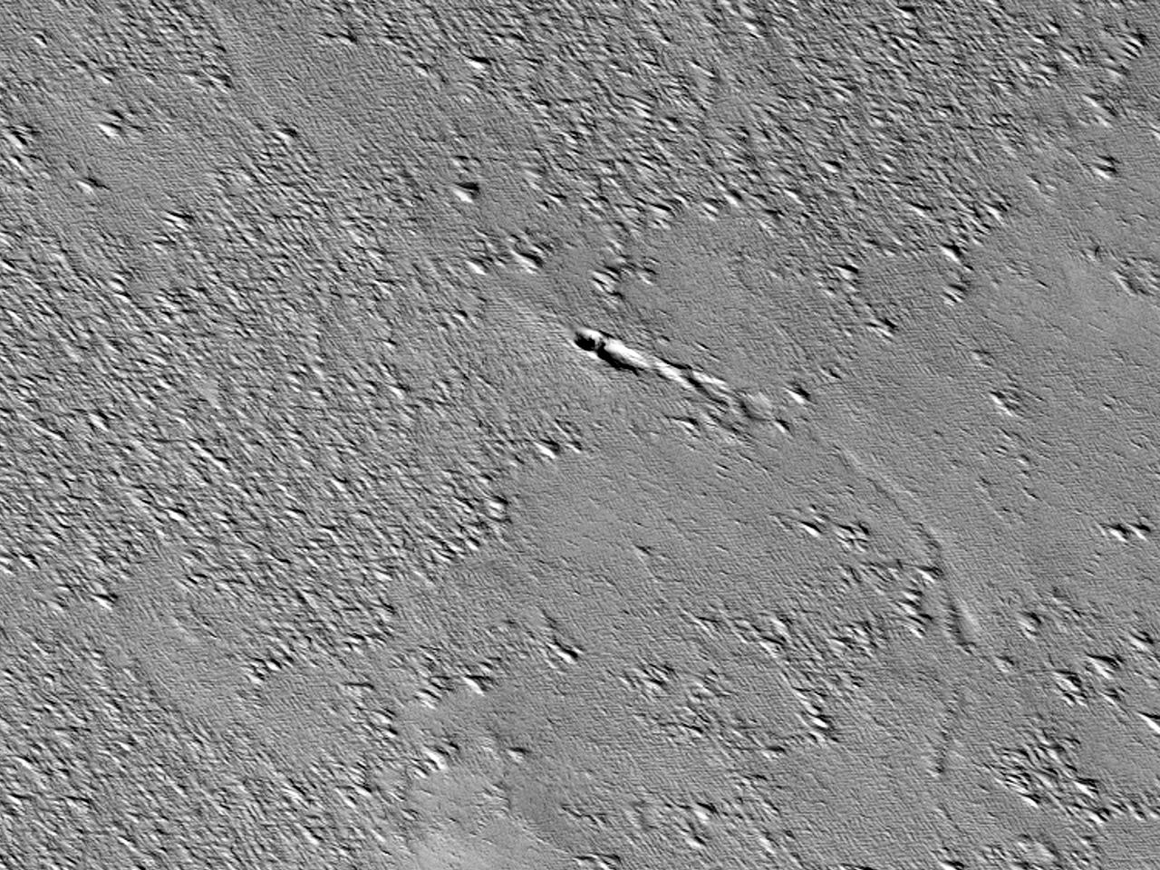 En eldgammel lavastrøm nord for Arsia Mons