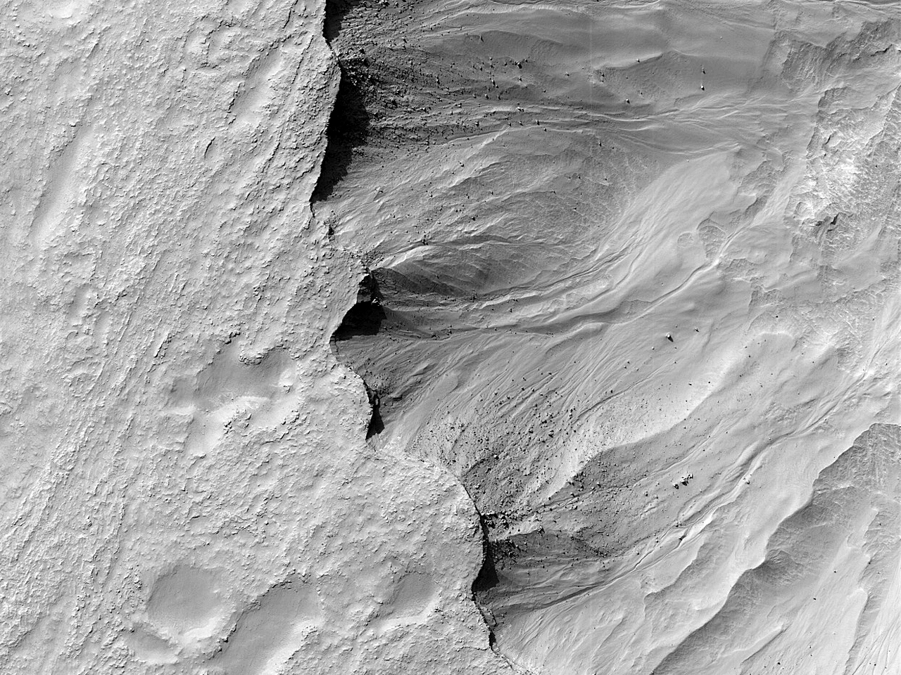 Овраги на крутых склонах плато