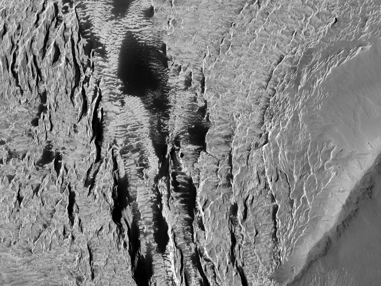 Интересный ландшафт ореола горы Olympus Mons