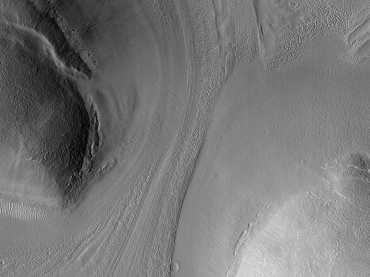 Особенности потоков в столовых горах Deuteronilus Mensae