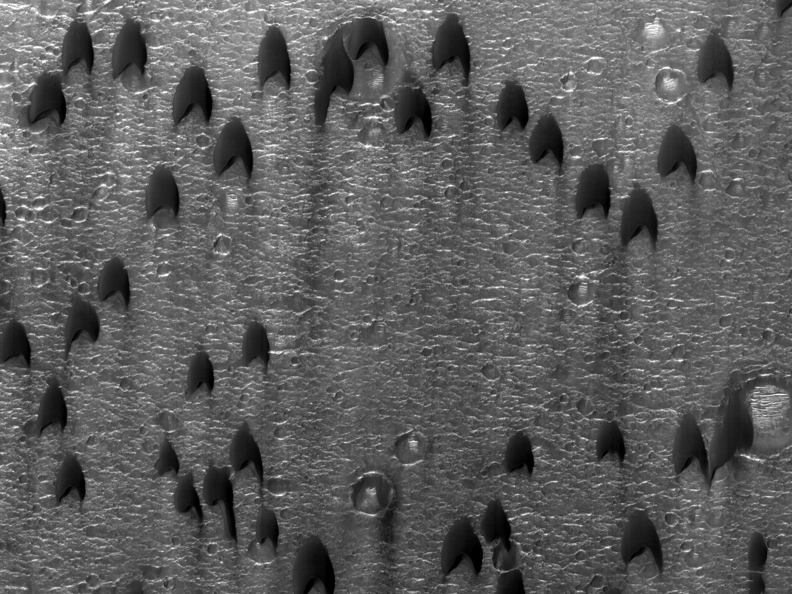 Дюны в форме полумесяца в кратере Oyama