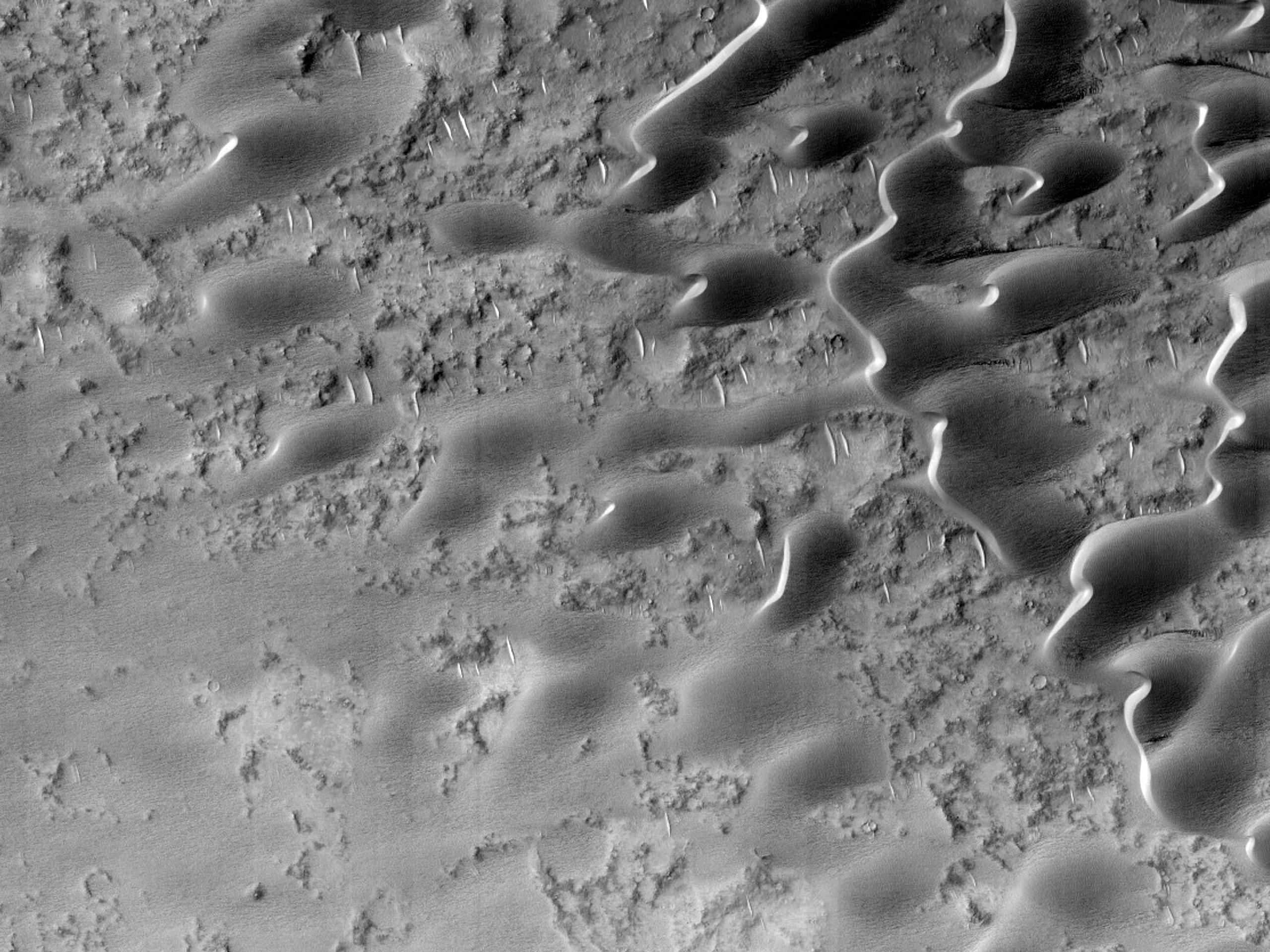 Песчаный покров возле патеры Meroe Patera