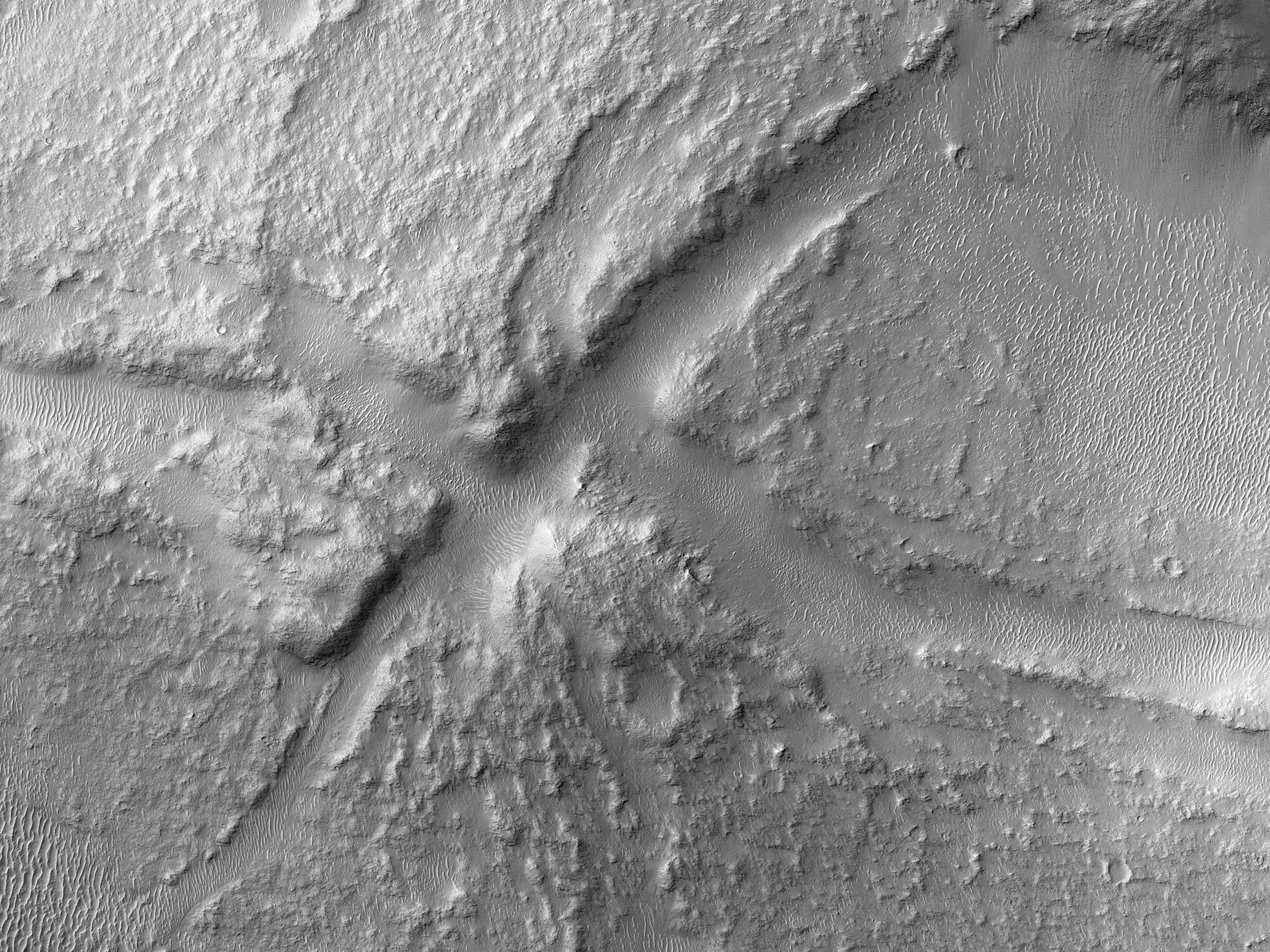 Дно кратера с трещинами