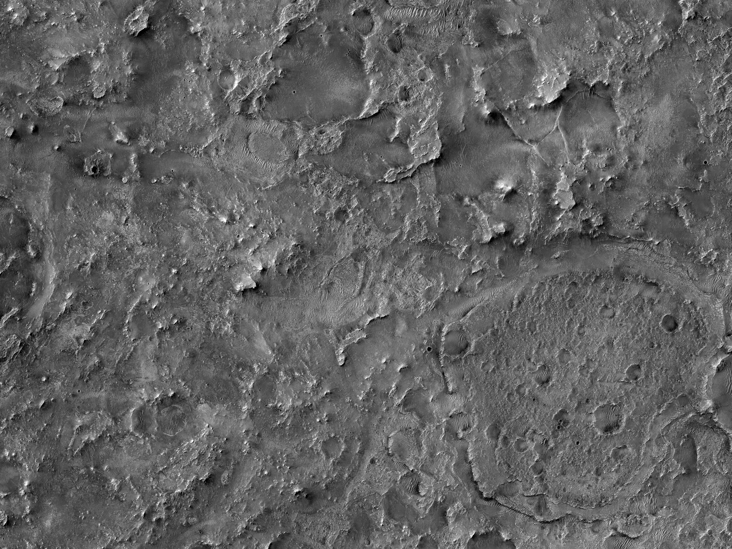 موقع مرشح لهبوط بعثة المريخ 2020 بالقرب من فوهة جيزيرو (Jezero Crater)