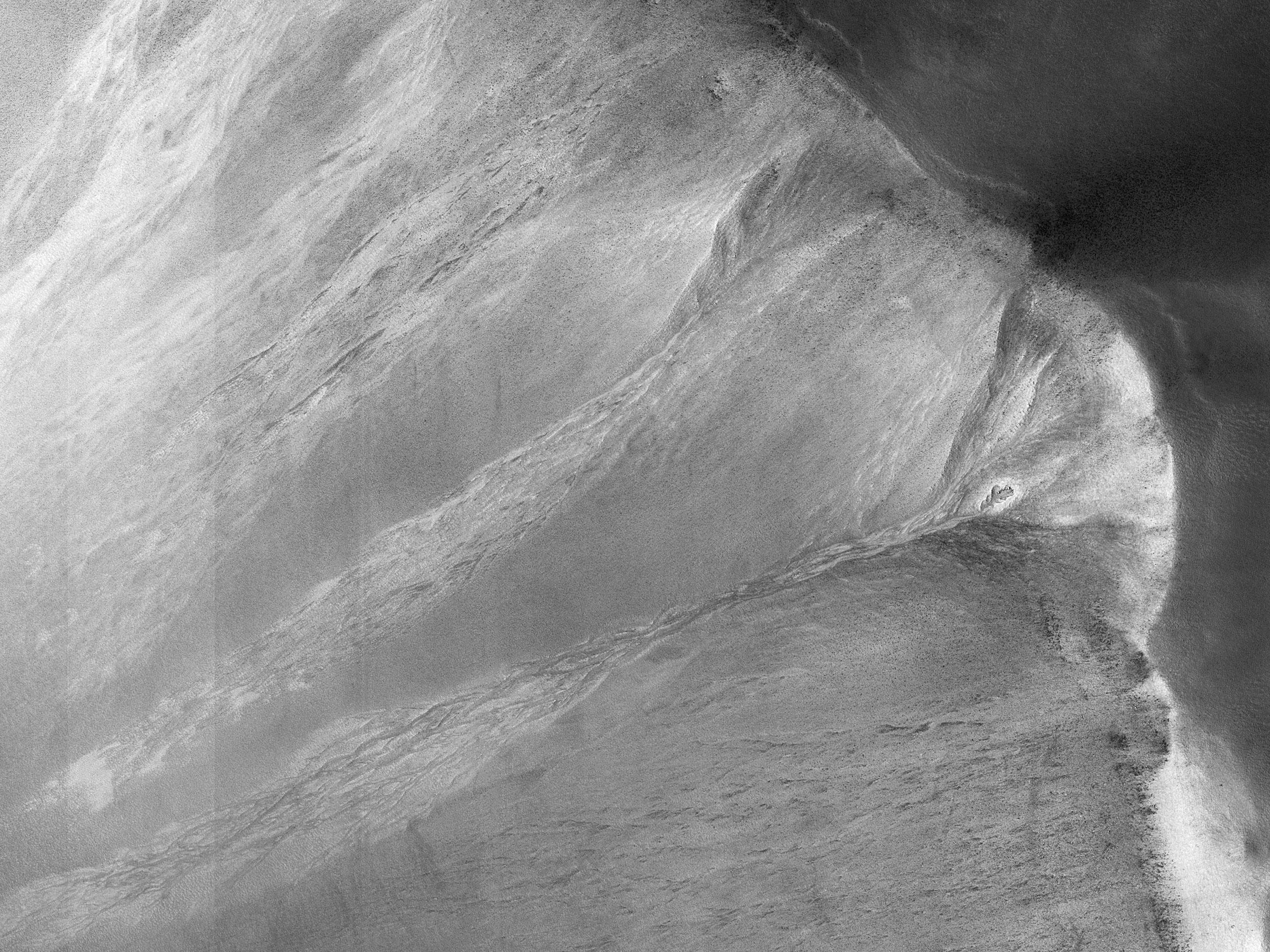 גיאיות צרות על קיר מכתש
