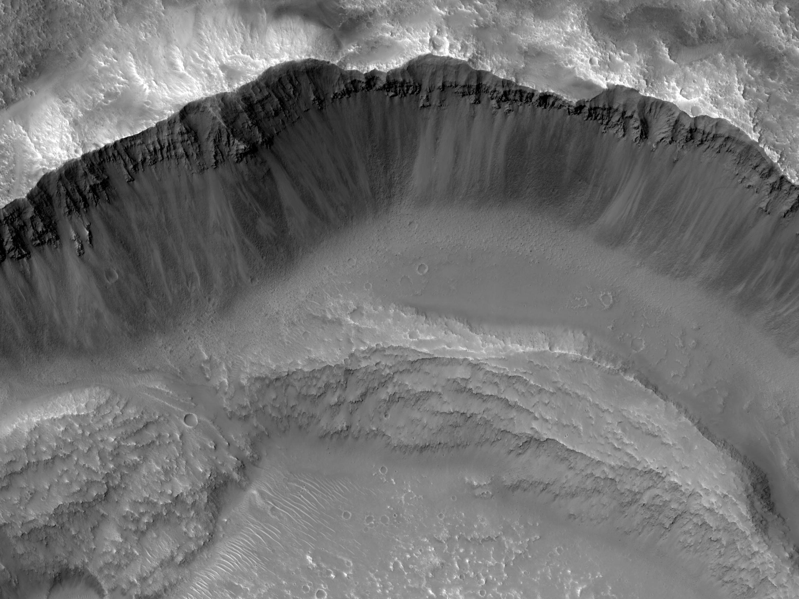 Pendi ripidi di un cratere d