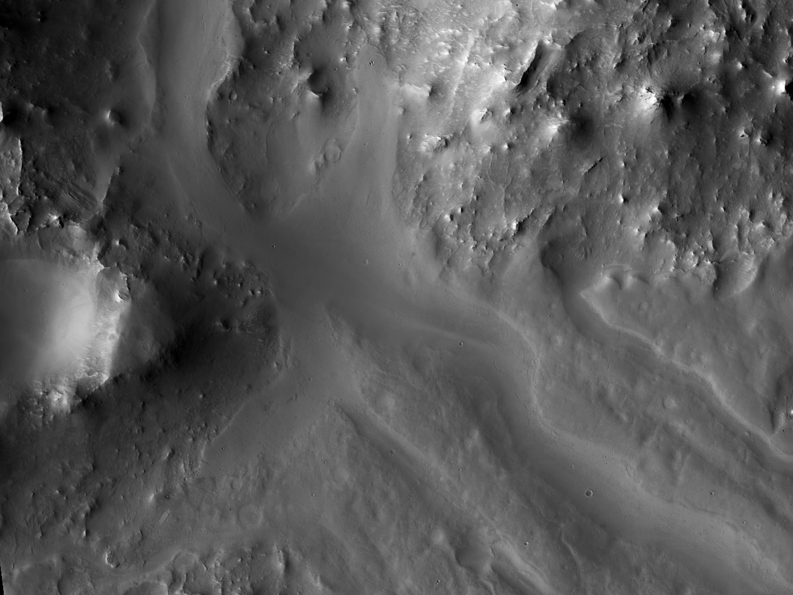 Channels in Baldet Crater
