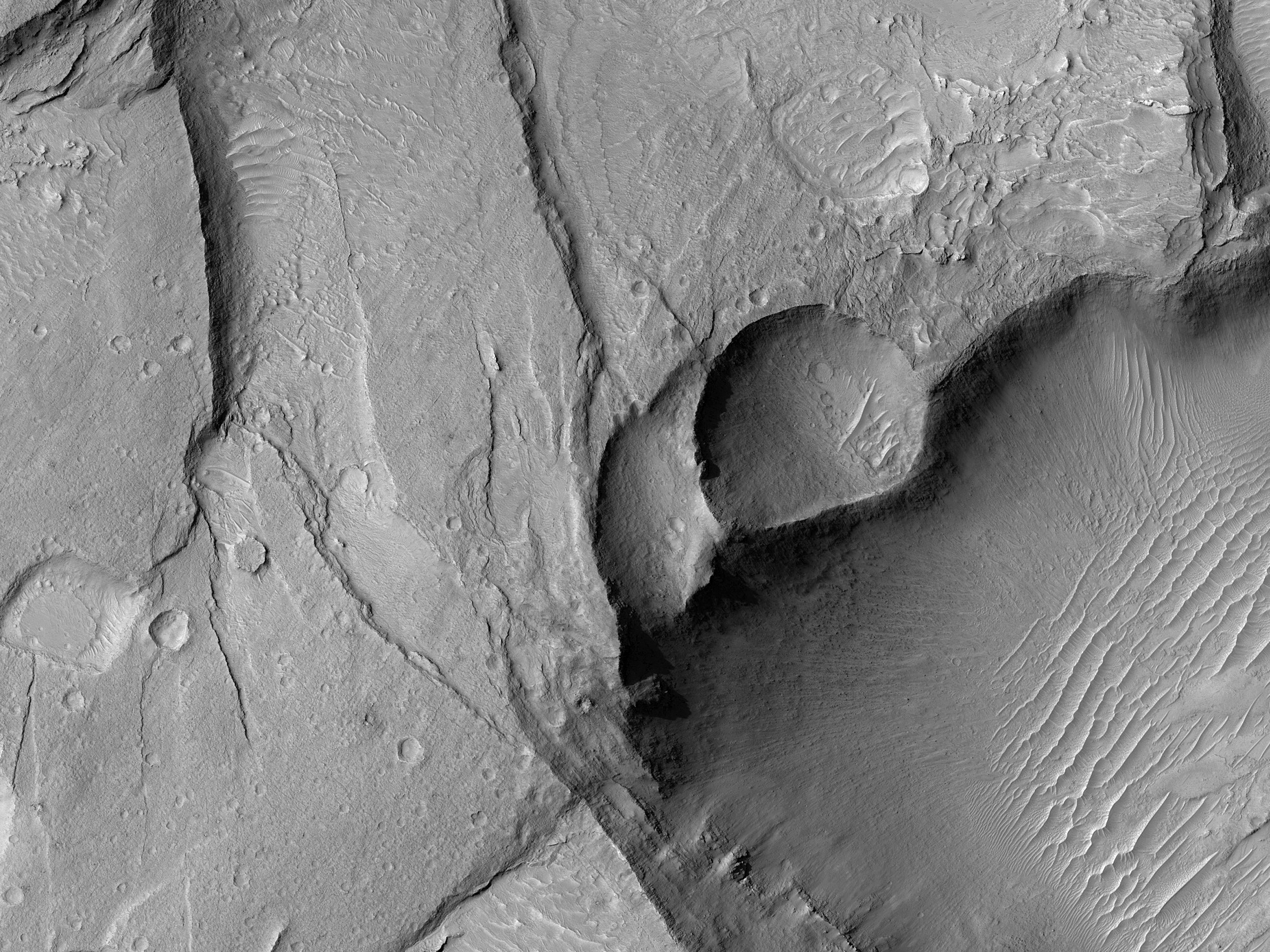 Pits and Depressions East of Juventae Chasma