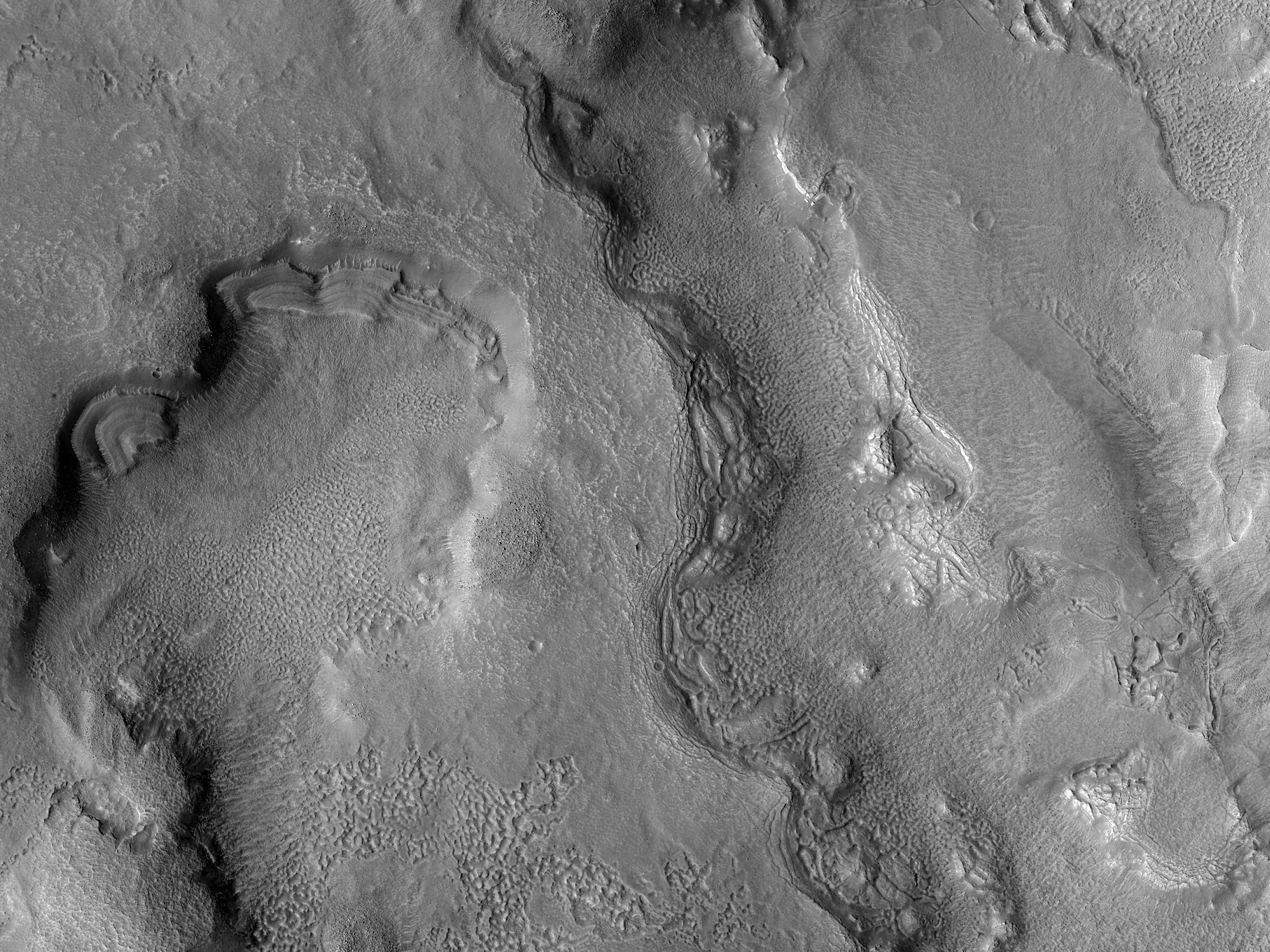 Dipping Layers in Depression in Ismeniae Fossae