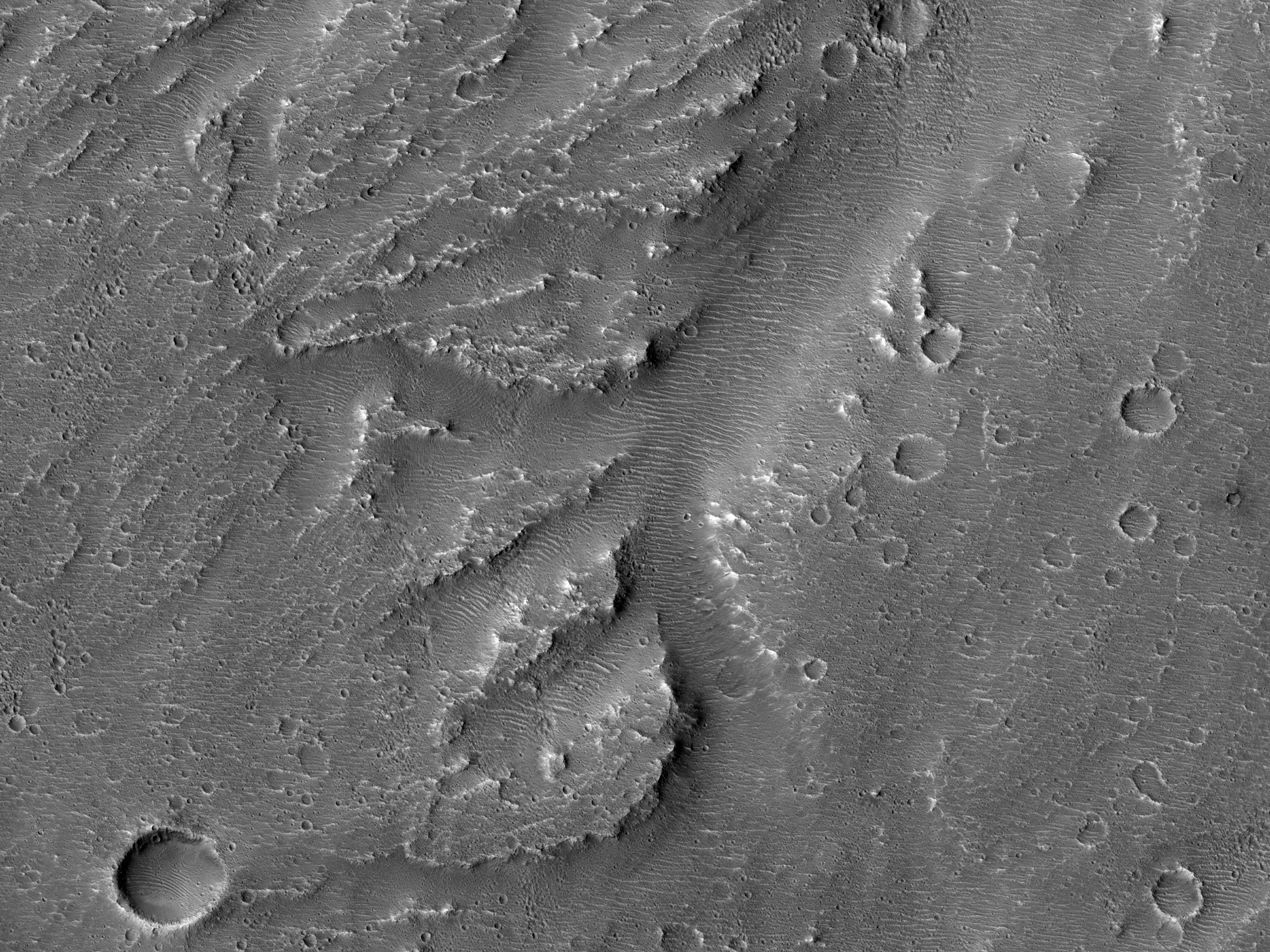 Shallow Branched Channel South of Etched Terrain in Ravi Vallis