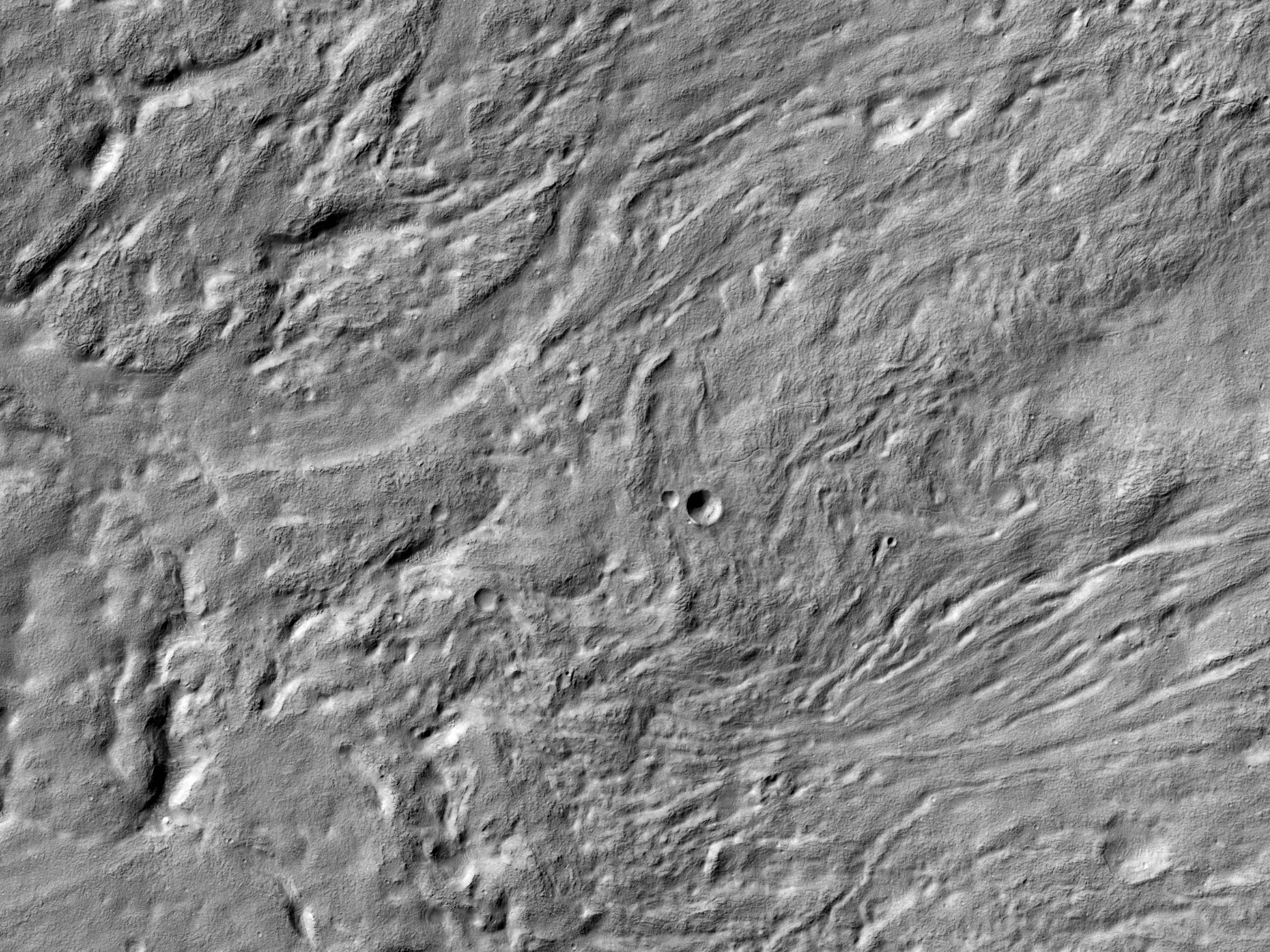 A Channel in Ejecta near Reull Vallis