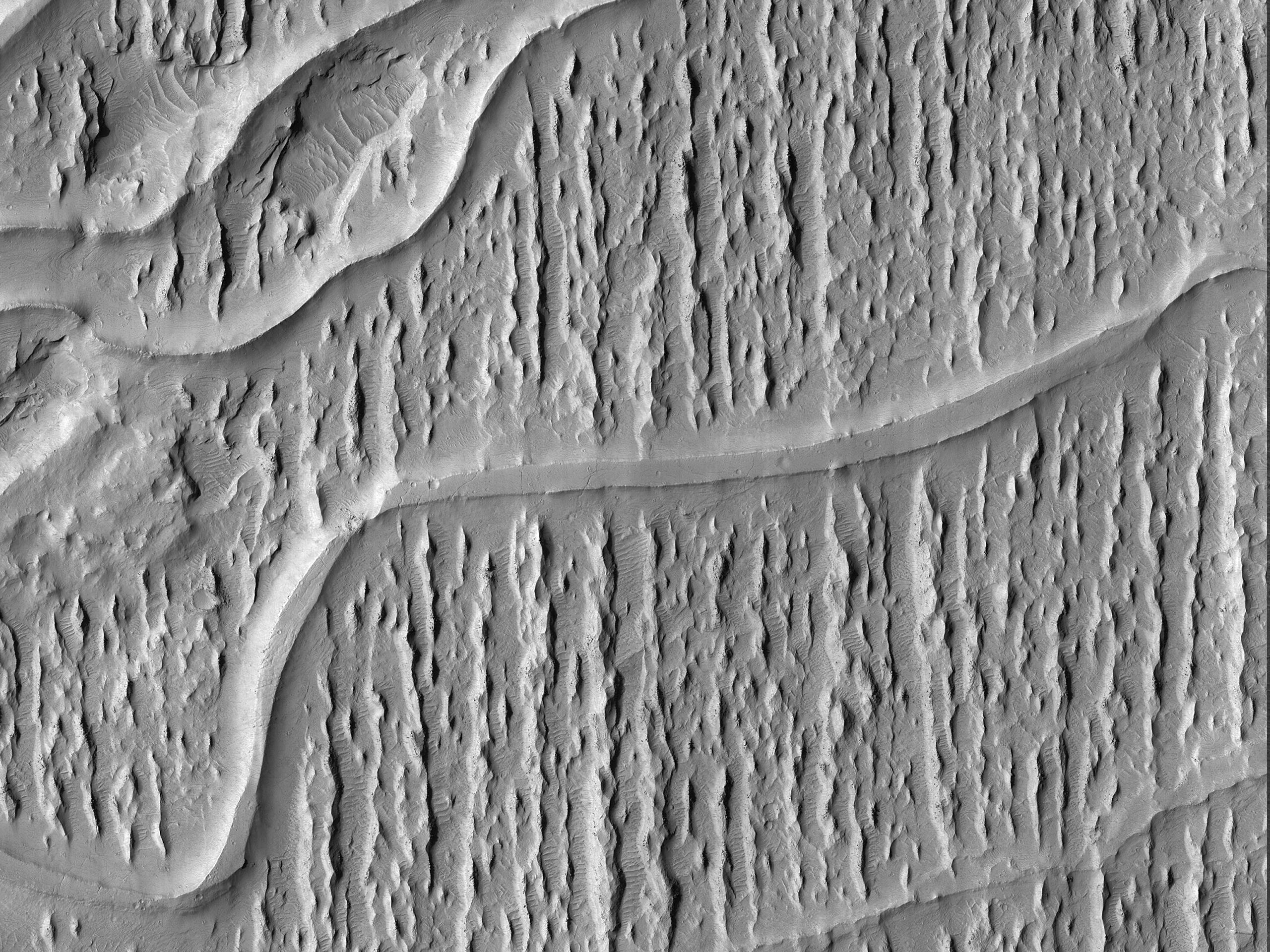Curving Ridges in Aeolis Planum