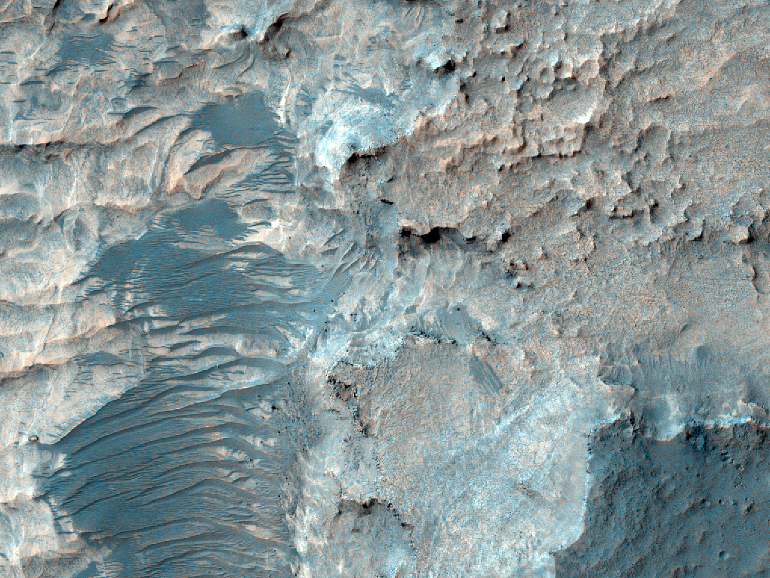 Deep Erosional Window into Niesten Crater Fill