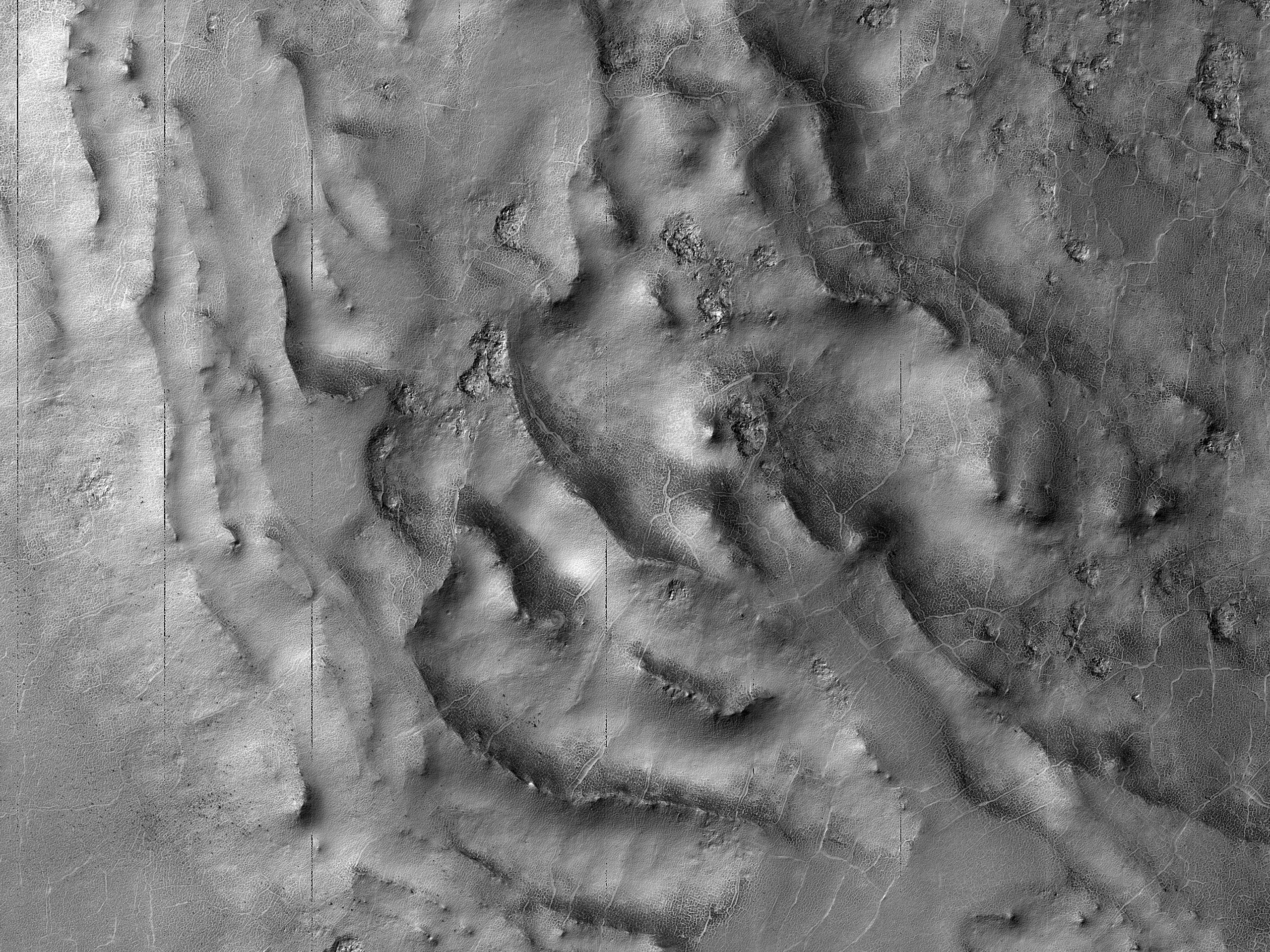 Landforms on the Floor of Barnard Crater