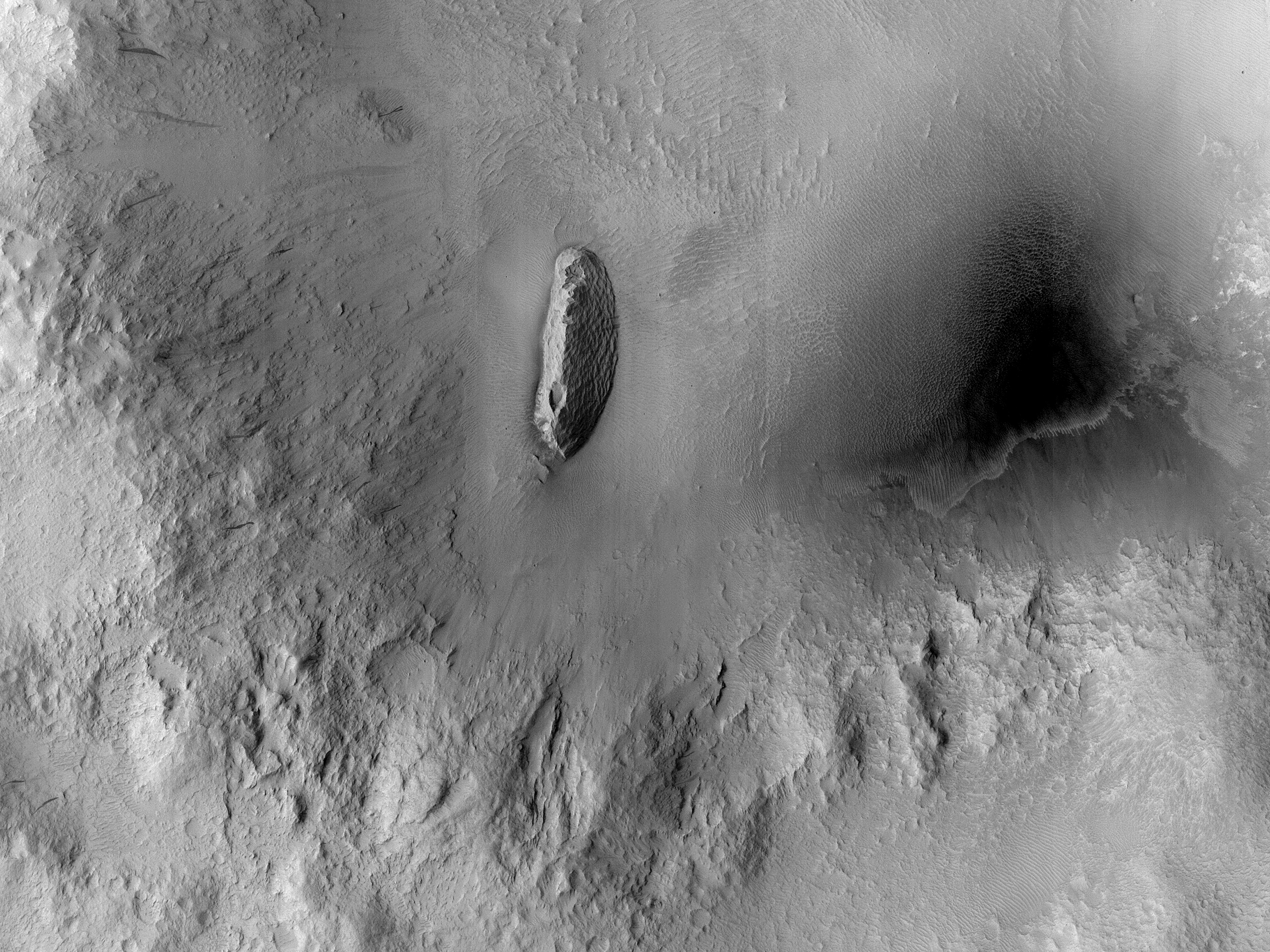 A Textured Ridge within a Crater
