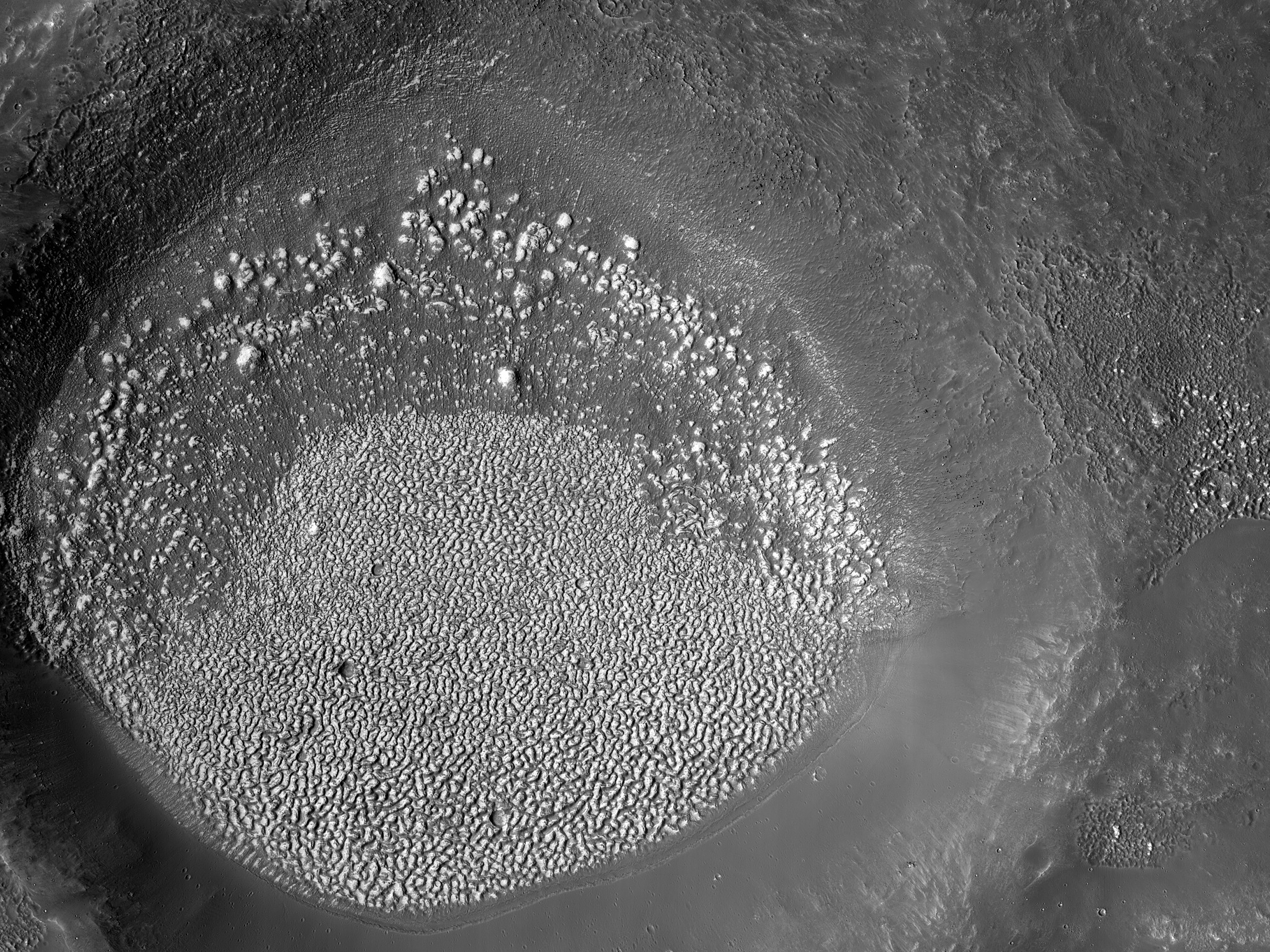 Mounds in a Crater outside of Lampland Crater