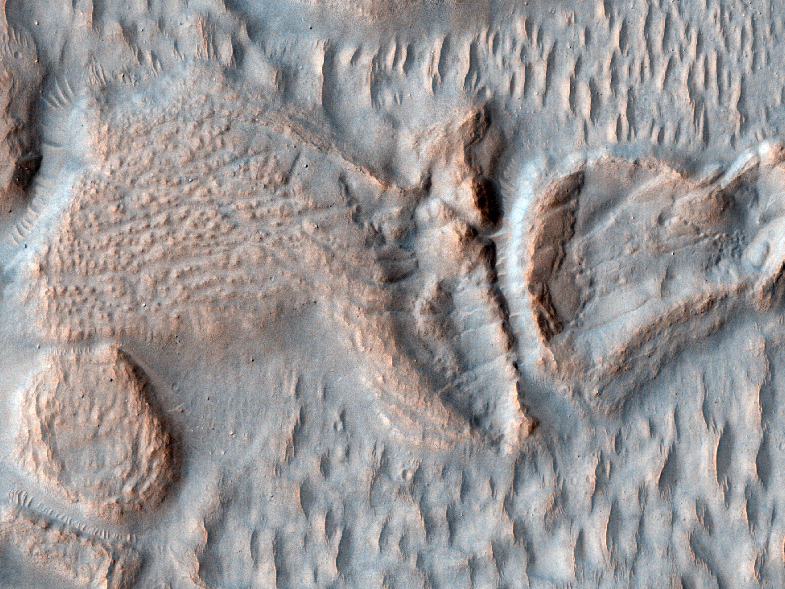 Outflow Feature Near Mafra Crater