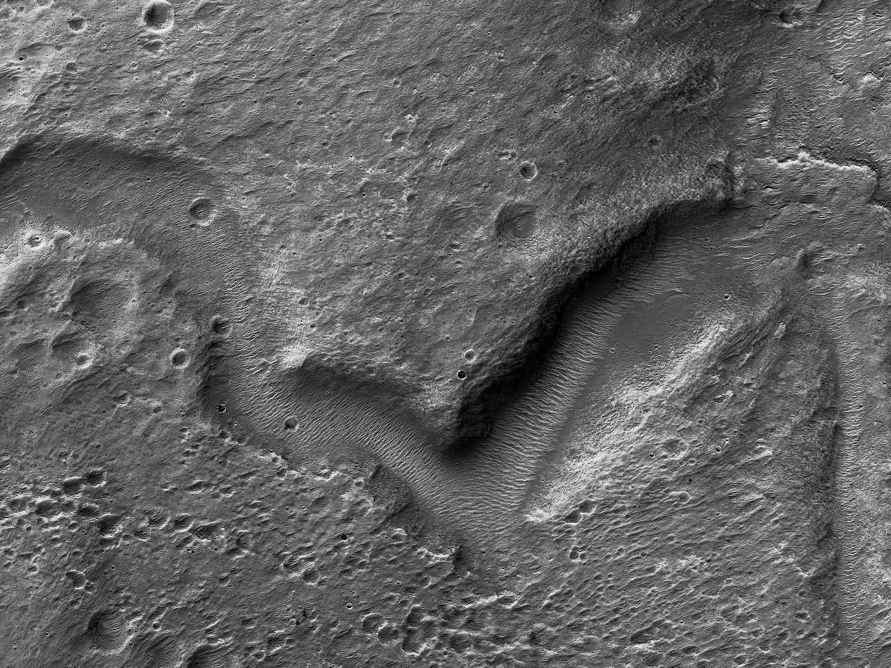 Valleys in a Crater in Terra Cimmeria