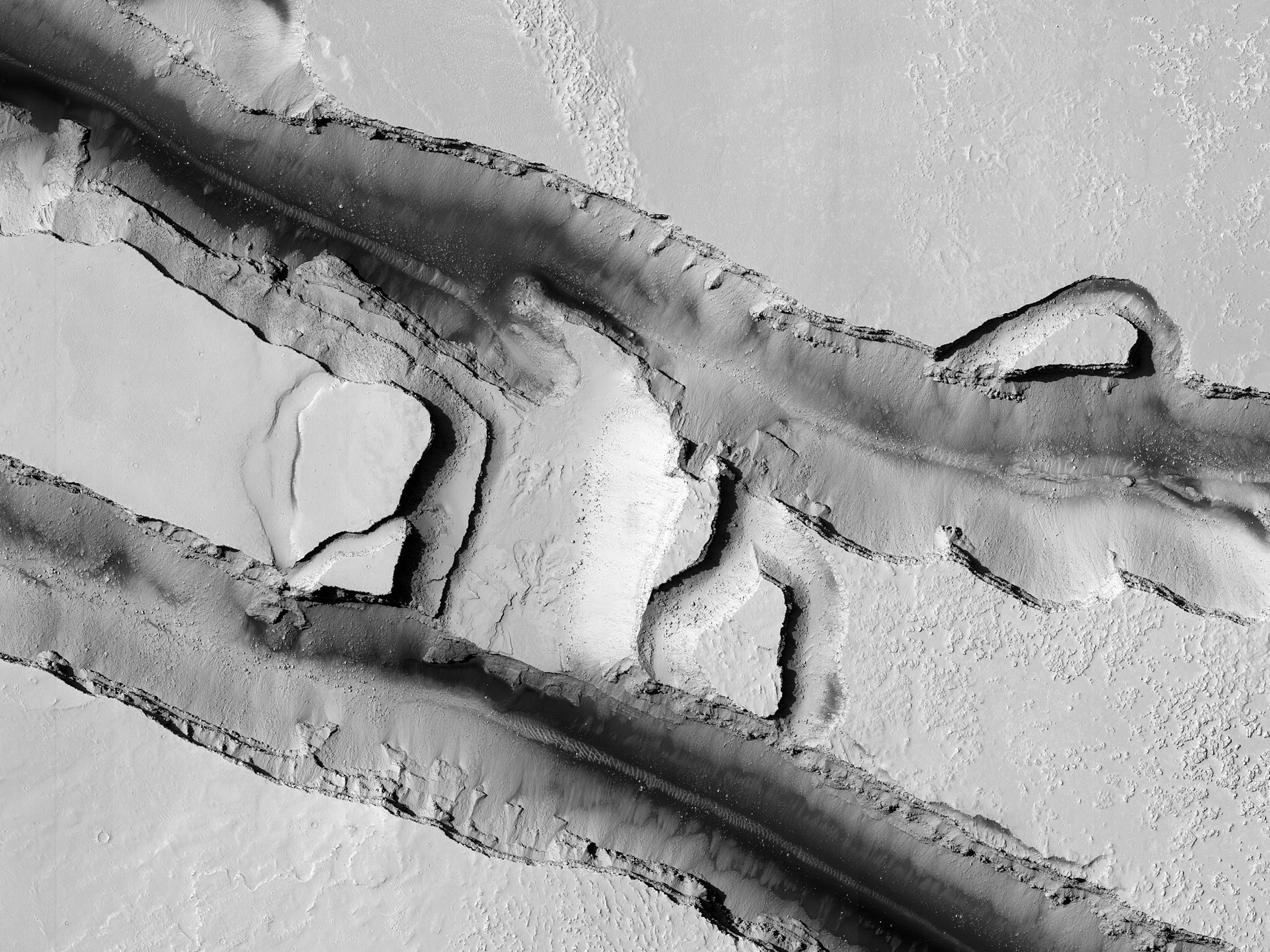 Erosion within Cerberus Fossae