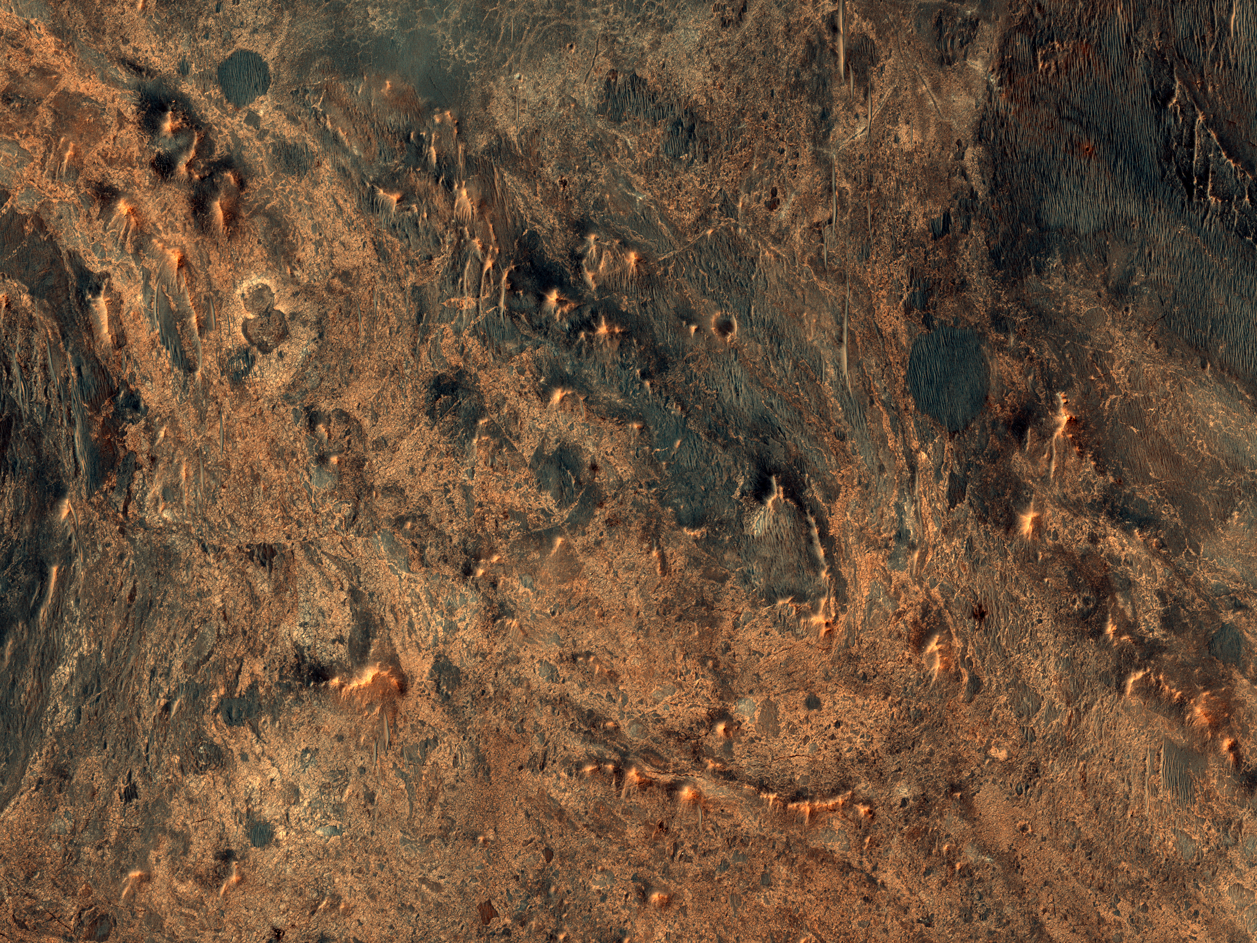 Exposed Ejecta West of Hargraves Crater near Nili Fossae Trough