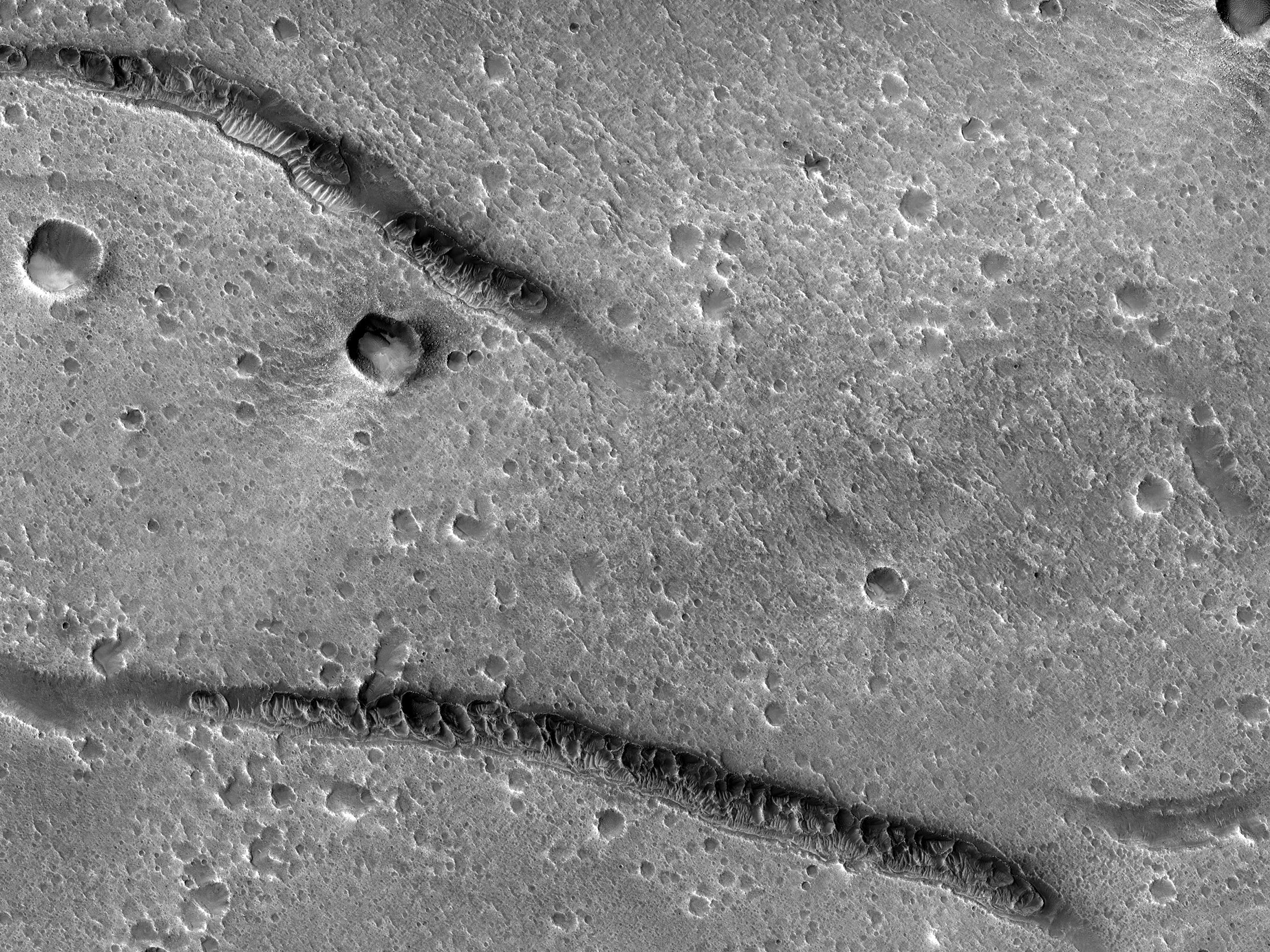 Irregular Depressions near Makhambet Crater