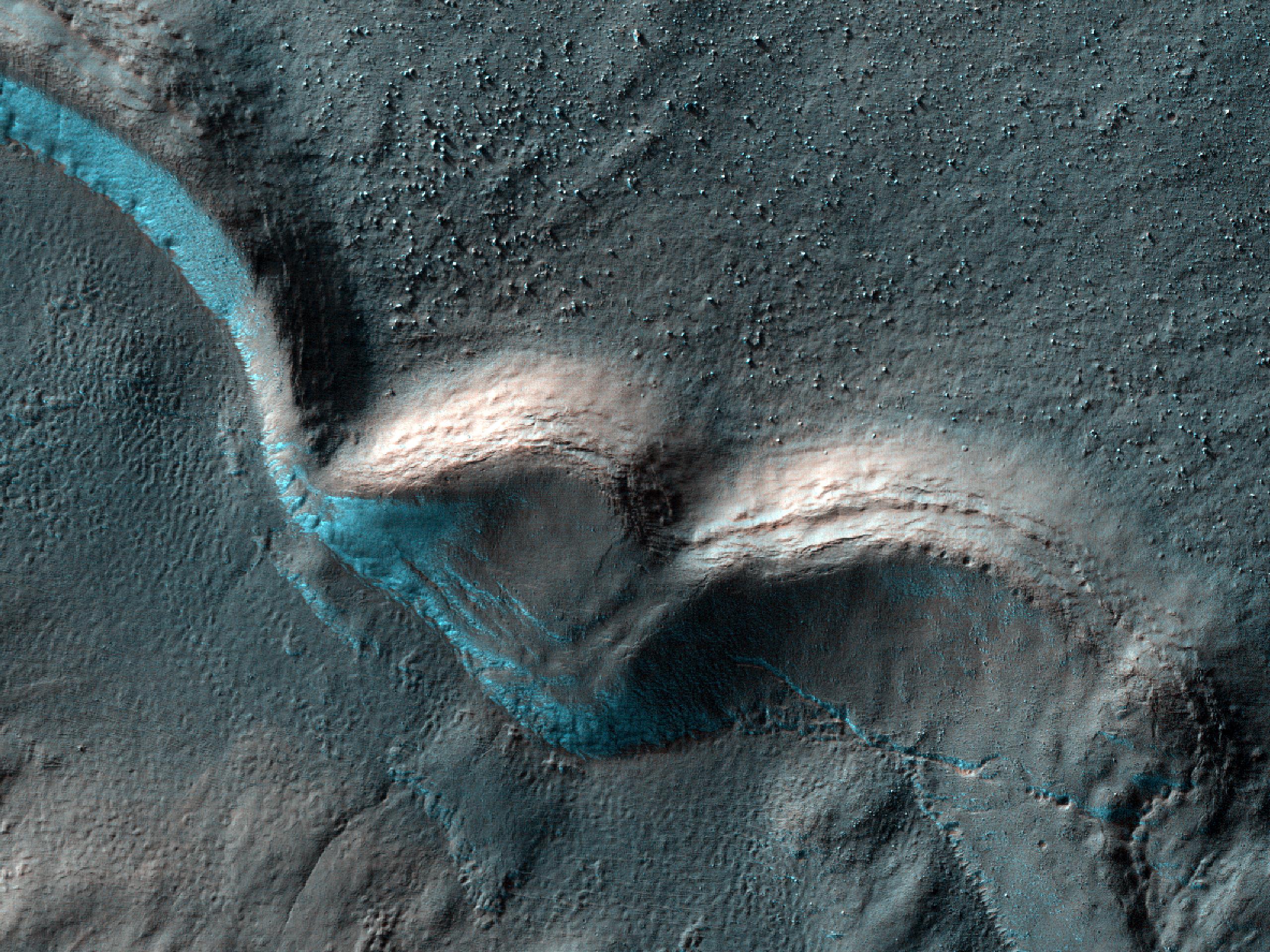 Layered Ridges at the Base of Gullies